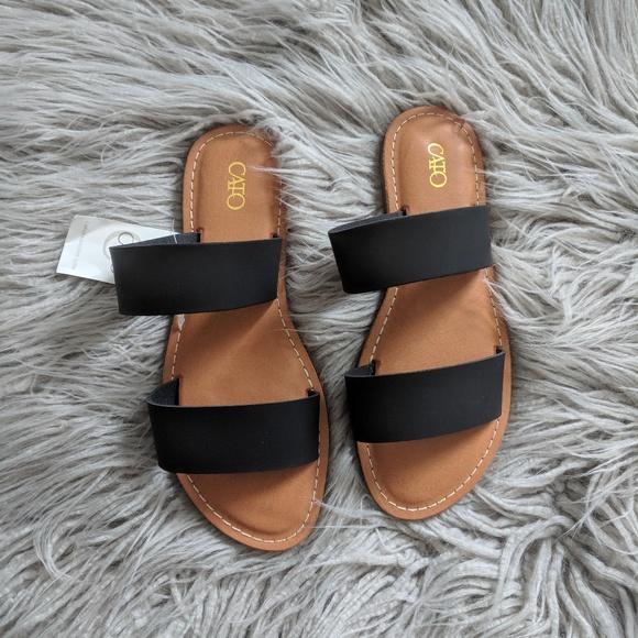 6f08fd650 Cato Shoes | New Flat Two Strap Slide On Sandal Black | Poshmark